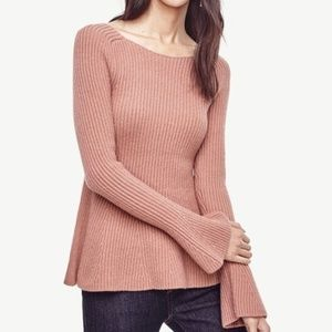 NWT Ann Taylor Pink Peplum Wool Ribbed Sweater